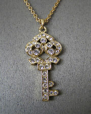 """SWAROVSKI CRYSTAL ELEMENTS """"OLD FASHIONED KEY"""" NECKLACE ON LINK CHAIN  GOLD TONE"""