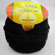 65% Cashmere Bamboo Knitting Yarn Lot 5 Black worsted