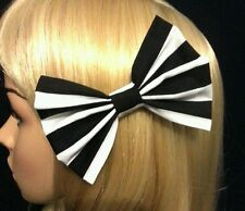 """4"""" Black & White stripes hair bow. Ascot. Pin up. Rockabilly. Beetlejuice. Goth."""