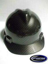 NEW Custom MSA V Gard SHORT Brim Hard Hat Black and Gold Carbon Fiber Pattern