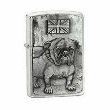 ZIPPO LIGHTER WITH BRITISH BULLDOG BULL DOG DESIGN NEW BOXED