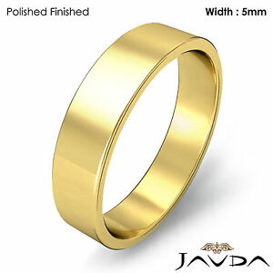 Flat Pipe Cut Ring 5mm Men's Plain Wedding Band 18k Yellow Gold 6.7gm 12-12.75