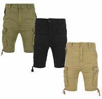 New Soul Star Men's Plain Cargo Combat Bermuda Shorts Summer Black Khaki Stone
