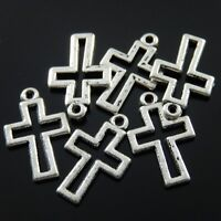 80pcs Antique Style Silver Tone Alloy Hollow Cross Blessing Pendant Charms 14mm