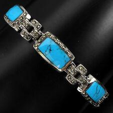 925 Sterling Silber Armband, Weißgold Vergoldet, Natural BLAU TÜRKIS-MARKASIT