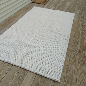 5 x 8 ft square New rug wool and cotton chunky cable white Rug Crate and Barrel