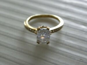 LARGE GOLD VERMEIL STERLING SILVER CZ PAVE RING SIZE 6
