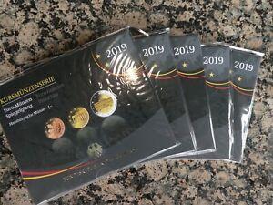 KMS Kursmünzensatz BRD 2019 Spiegelglanz PP alle Prägestätten A D F G J