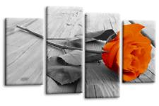 Orange Floral Rose Wall Art Picture Grey Love Flower Split Canvas 4 Panel SET 1
