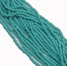 Green Turquoise Opaque Czech 8/0 Glass Seed Beads  12 Strand Hank Preciosa