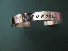 Love you more bracelet hand stamped in solid sterling silver not plated