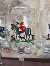 Hand painted Fox on Horse Fox Hunt with hounds wine glasses.  Set of 4