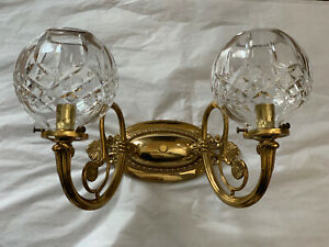 AUTHENTIC WATERFORD Lismore Polished Brass Irish Crystal Wall Sconce 2 Arm Light