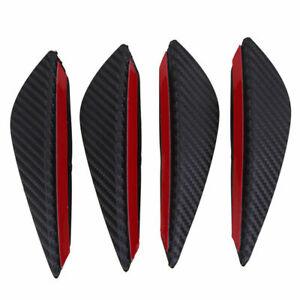 4Pcs Carbon Fiber Look Car Front Bumper Fins Lip Canards Splitter Trim Univeral