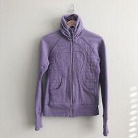 Lululemon Cuddle Up Light Purple Fleece Lined High Neck Full Zip Jacket Sz 6
