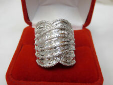 HUGE 1 Carat Round Baguette Diamond Wide Statement Band Ring Silver Sz 7