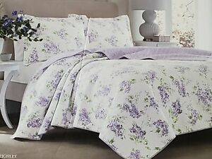 NEW LAURA ASHLEY KEIGHLEY LILAC PURPLE FLORAL TWIN QUILT & SHAM SET