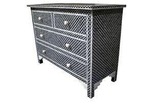 black fish scale  pattern 4 drawer bone inlay dressers ,bone inlay furniture