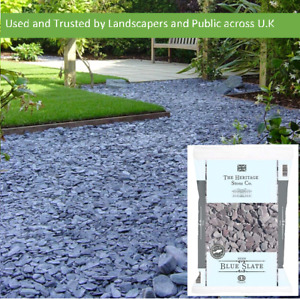 Blue Slate 40mm Bright Beautiful Natural Landscaping Aggregates 20kg easy handle