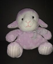"7"" Plush Purple Lamb Sheep White Striped Bow Scarf Tie Lavender Target"