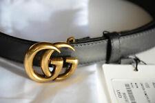 Auth GUCCI BLACK MARMONT 1.5 cm Belt GOLD MINI GG Buckle 85/34 fits 28-30 UNISEX