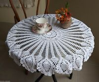 32'' Hand Crochet Round Table Cloth Runner Topper Victorian White Cotton
