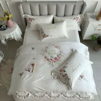 Luxury Flowers Embroidery Bedding Set Egyptian Cotton Duvet Cover Sheet 4Pcs