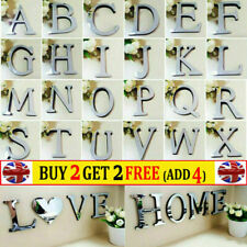 Alphabet 3D Acrylic Mirror Wall Stickers 26 Letters Heart Decor Wedding Party