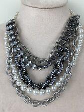 White House Black Market Statement Necklace Silver Tone Multi Strand