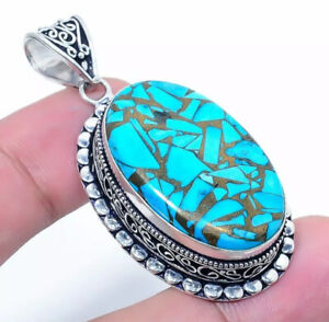 """NATURAL OVAL COPPER TURQUOISE 925 STERLING SILVER PENDANT 2"""" NECKLACE CHARM"""