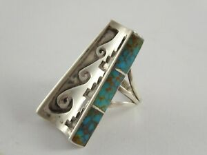 LOVELY VINTAGE NAVAJO NATIVE AMERICAN SILVER & TURQUOISE RING LENNIE PARKER