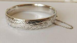 Vintage 1962 London Sterling Silver F Manshaw Hallmarked Hinged Bangle Bracelet