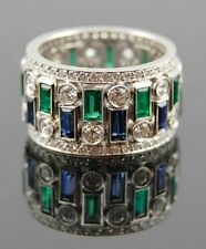 9ct Blue Green baguette updown Eternity Band 925 Sterling Silver Party Ring New