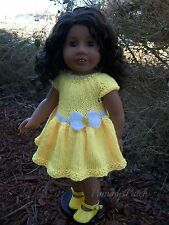 Hand Knitted Summer Yellow White Bow Dress Clothes to Fit American Girl Dolls