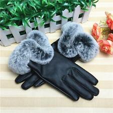 Touch Screen Gloves Soft Warm Women's Winter Black Rabbit Fur Hand PU Gloves bla