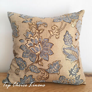 45 x 45cm Home Decor Sofa Lounge Blue/Gold Chenille Texture Floral Cushion Cover