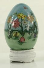MODERN 2002 Hand Reverse Pained Glass Egg LI BIEN Ornament Spring Narcissus
