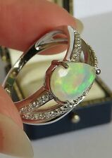 FIERY WELO OPAL & NATURAL CAMBODIAN WHITE ZIRCON RHODIUM ON SILVER ( SIZE S