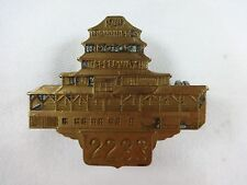1949 Indianapolis 500 Bronze Pit Badge # 2233 Pagoda Bill Holland Lou Moore