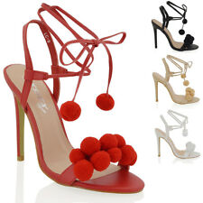 Womens Stiletto High Heel Strappy Sandals Tie Lace Up Ladies Party Shoes Size
