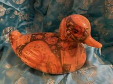 Vintage Ceramic Duck Ornament Collectible With Patchwork Pattern