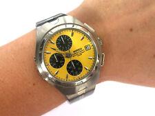 Wired By Seiko Quartz Chronograph V657 0A50 Men's Wrist Watch Yellow Dial Runs