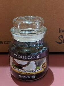 Yankee Candle Black Coconut & Vanilla Bean Small 3.7 oz. Glass Jar ~ New~