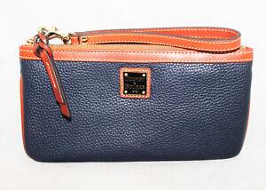 DOONEY & BOURKE Large Slim Wristlet Navy Blue Pebbled Leather Tan Trim Gold Hdwr