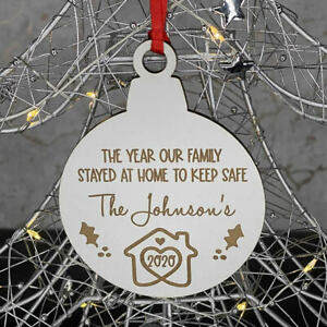 PERSONALISED WHITE LOCKDOWN 2020 FAMILY HOME CHRISTMAS TREE DECORATION BAUBLE