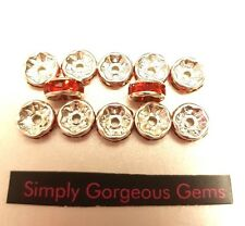 12 Gorgeous Ruby Coloured Cubic Zirconia Spacer Beads - 4 * 8 mm