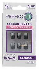 PERFECT 10 STARDUST FALSE NAILS WITH GLUE 48 NAILS PER PACK