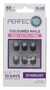 PERFECT 10 STARDUST FALSE NAILS WITH GLUE 48 NAILS PER PACK***BUY1GET2FREE