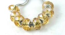 Faceted Crystal Fit Charm Bracelet Bit Hole Beads - light Topa
