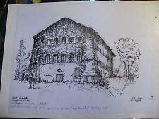 Encre de Chine sur calque Metz citadelle Magasin Vivres André Simon 1926-2014